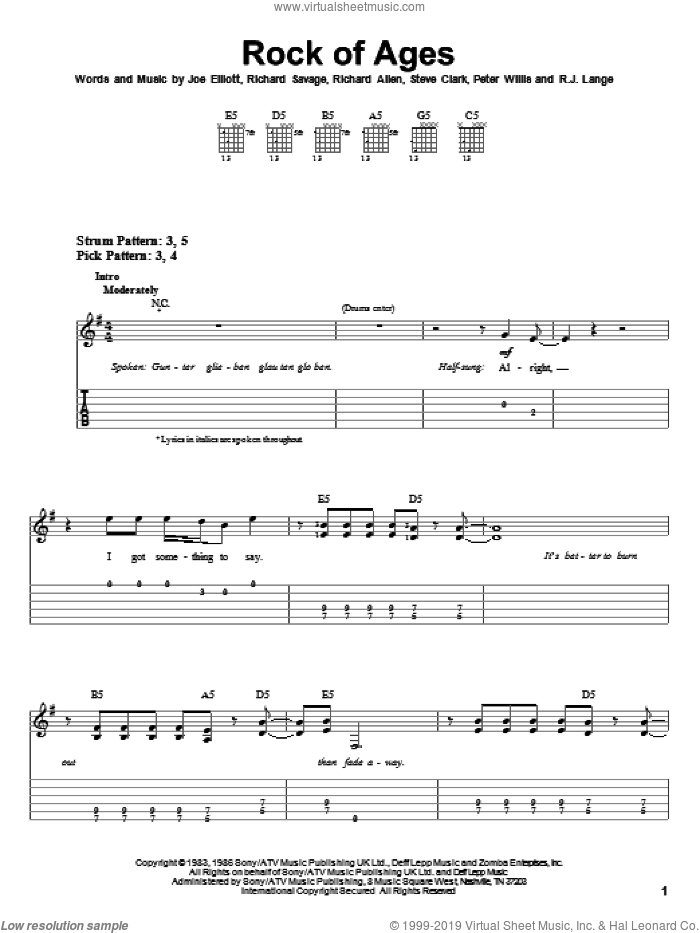Rock Of Ages sheet music for guitar solo (easy tablature) by Def Leppard, Joe Elliott, Peter Willis, Richard Allen, Richard Savage, Robert John Lange and Steve Clark, easy guitar (easy tablature)
