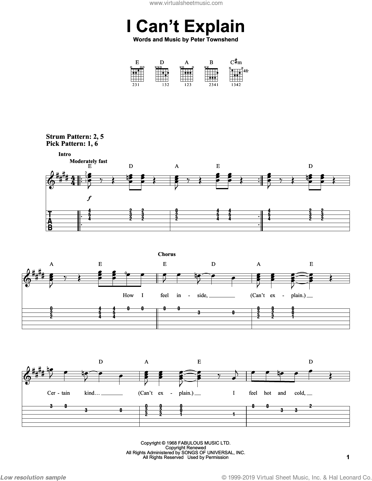 I Can't Explain sheet music for guitar solo (easy tablature) by Pete Townshend