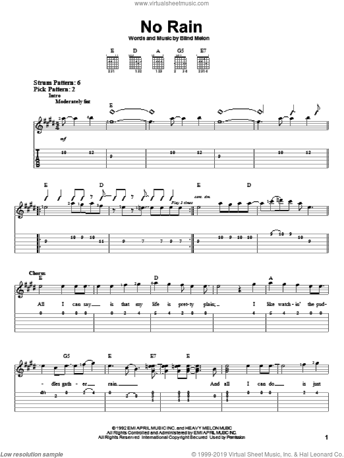 No Rain sheet music for guitar solo (easy tablature) by Blind Melon. Score Image Preview.