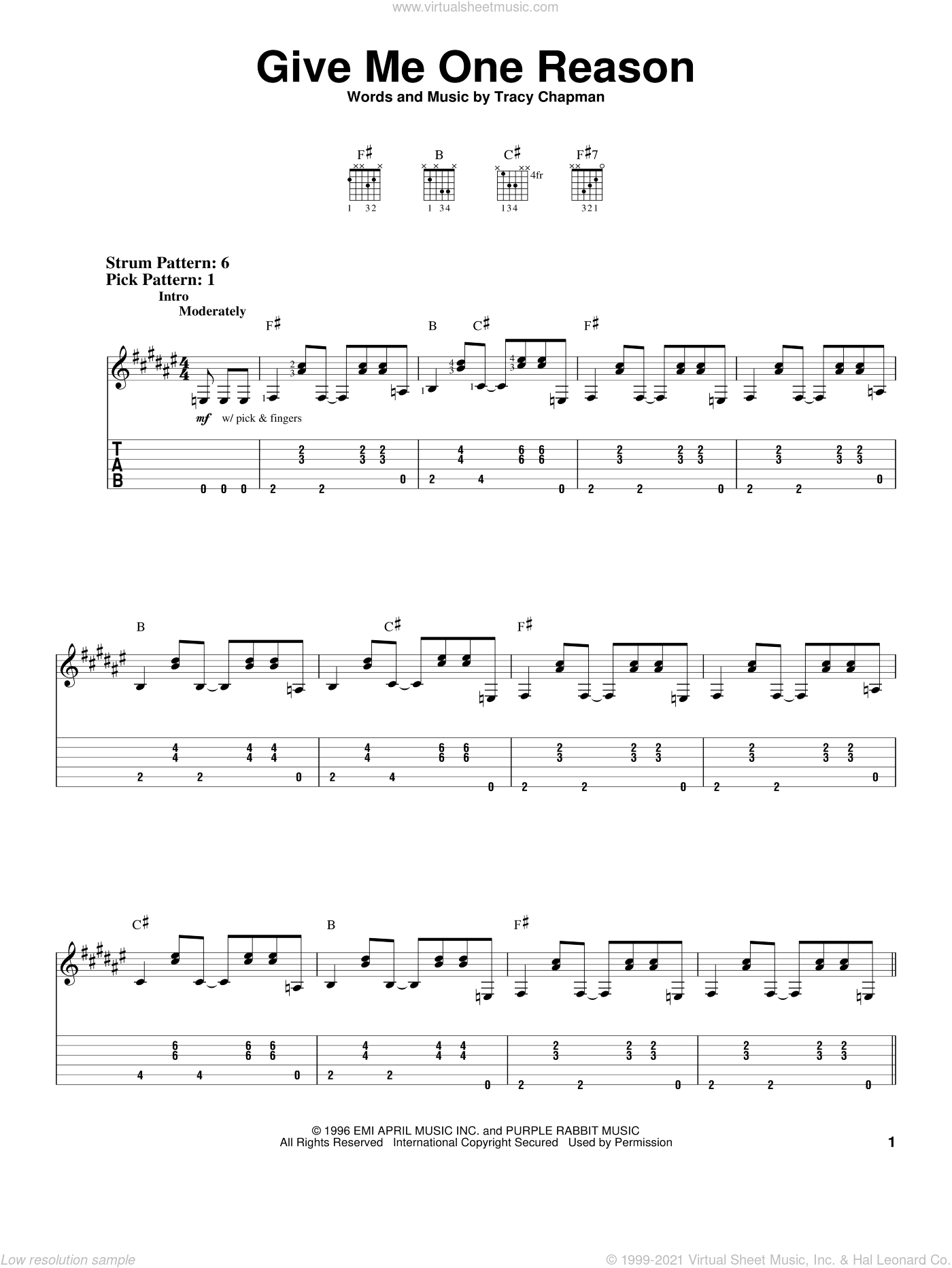 Give Me One Reason sheet music for guitar solo (easy tablature) by Tracy Chapman, easy guitar (easy tablature)