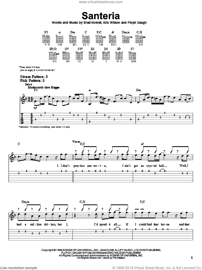 Santeria sheet music for guitar solo (easy tablature) by Sublime, Brad Nowell, Eric Wilson and Floyd Gaugh, easy guitar (easy tablature)