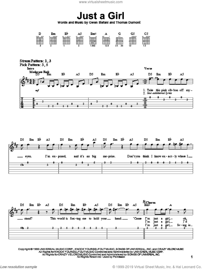 Just A Girl sheet music for guitar solo (easy tablature) by No Doubt and Gwen Stefani, easy guitar (easy tablature). Score Image Preview.