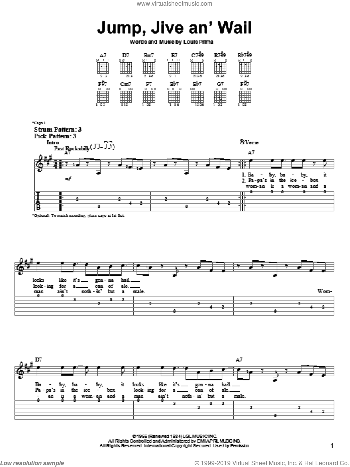 Jump, Jive An' Wail sheet music for guitar solo (easy tablature) by Louis Prima and Brian Setzer. Score Image Preview.