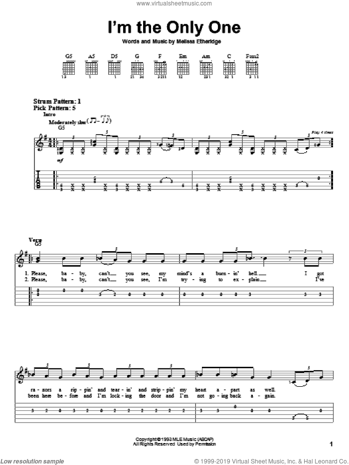 I'm The Only One sheet music for guitar solo (easy tablature) by Melissa Etheridge, easy guitar (easy tablature)