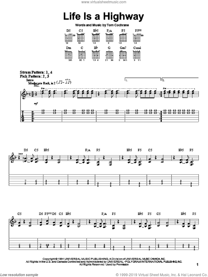 Life Is A Highway sheet music for guitar solo (easy tablature) by Tom Cochrane