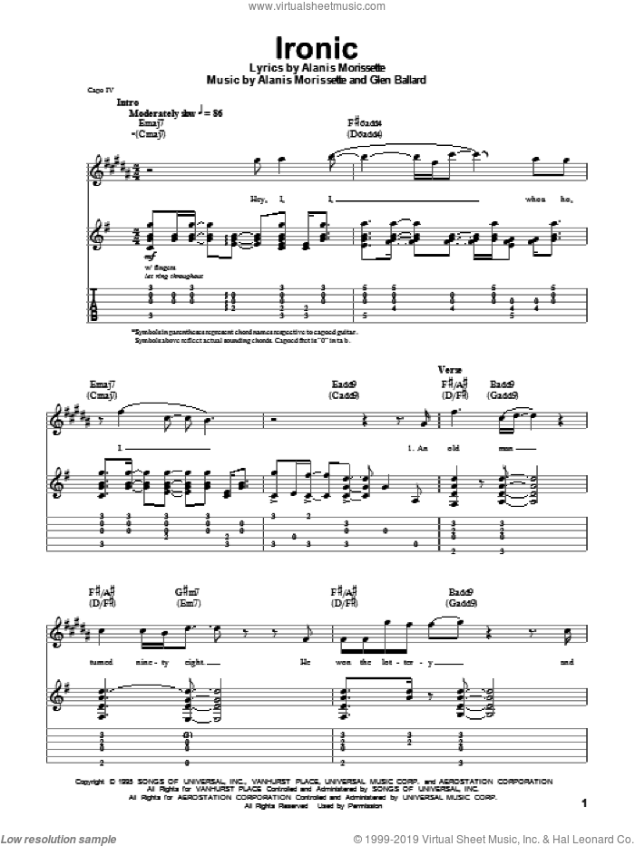 Ironic sheet music for guitar (tablature, play-along) by Alanis Morissette and Glen Ballard. Score Image Preview.