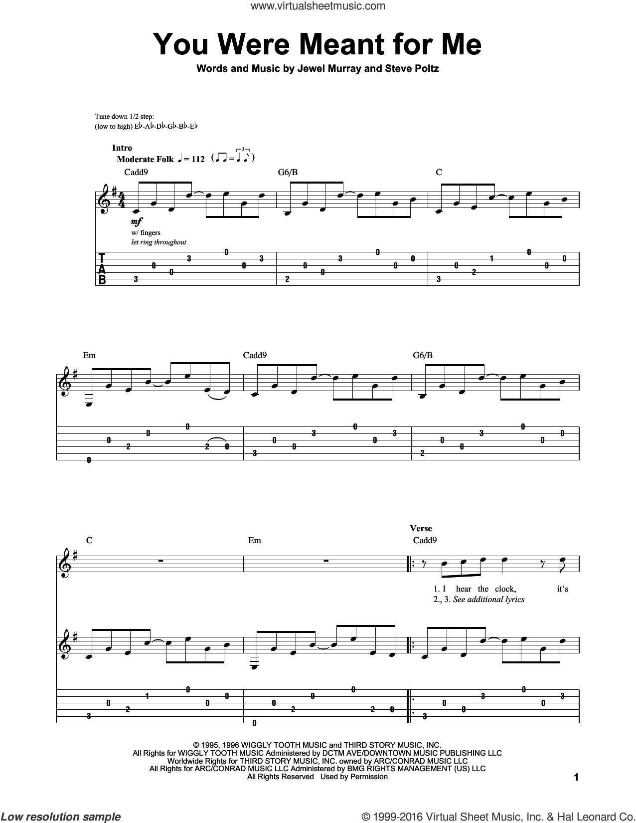 You Were Meant For Me sheet music for guitar (tablature, play-along) by Steve Poltz, Jewel and Jewel Kilcher. Score Image Preview.