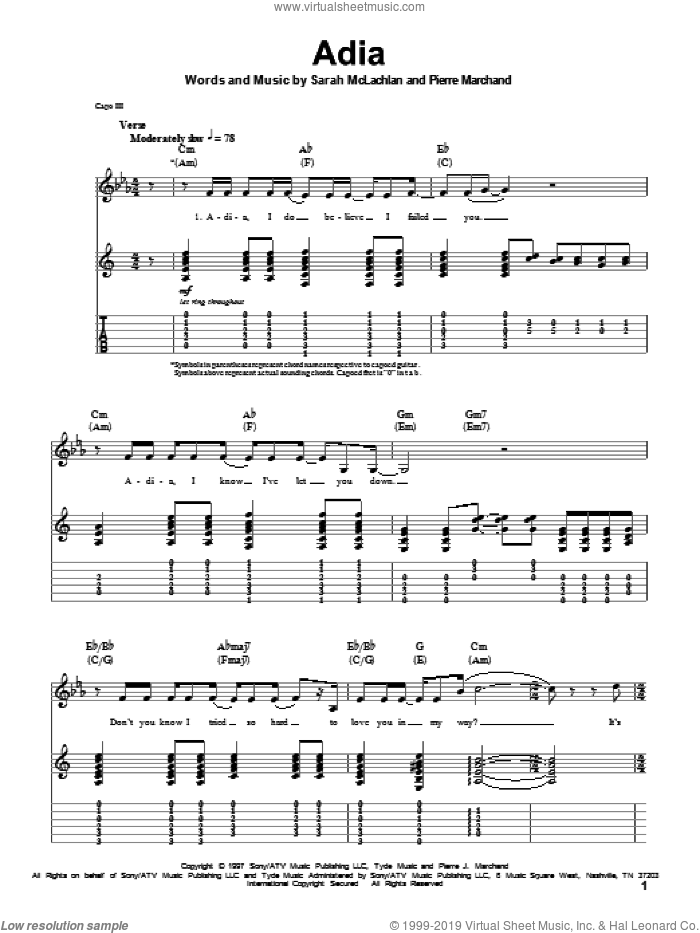 Adia sheet music for guitar (tablature, play-along) by Sarah McLachlan and Pierre Marchand, intermediate. Score Image Preview.
