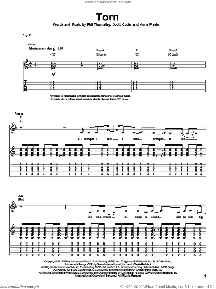 Torn sheet music for guitar (tablature, play-along) by Scott Cutler