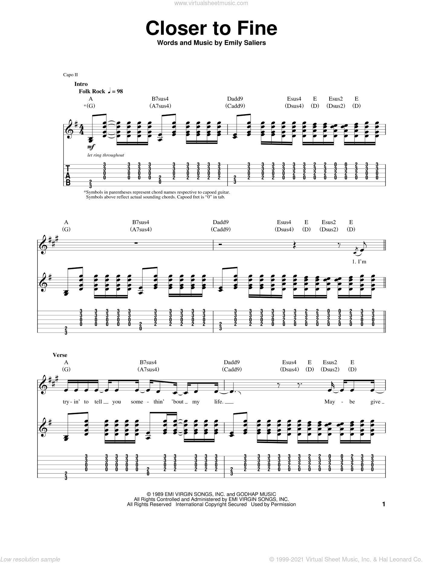 Closer To Fine sheet music for guitar (tablature, play-along) by Emily Saliers. Score Image Preview.