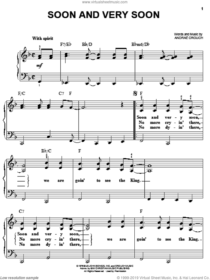 Soon And Very Soon sheet music for piano solo by Andrae Crouch, easy. Score Image Preview.