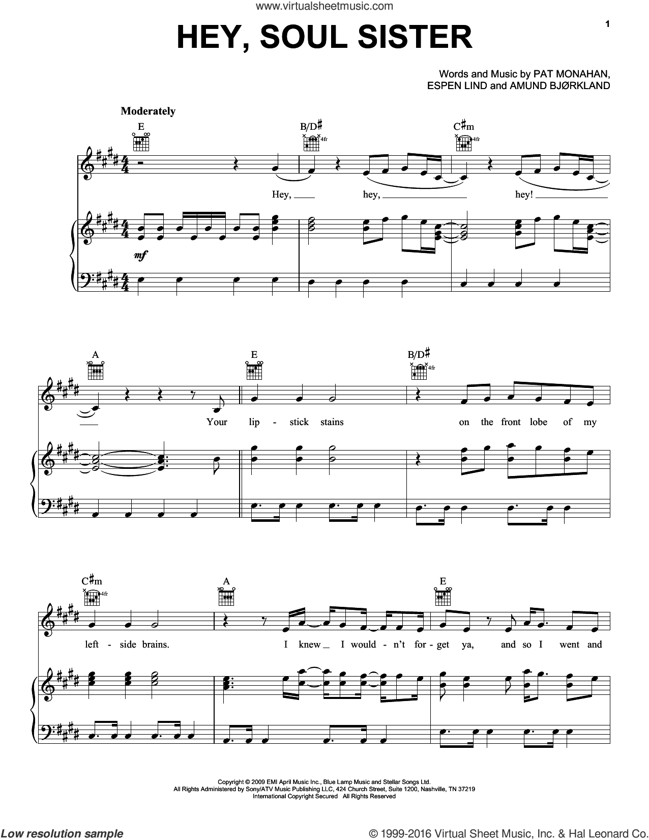 Hey, Soul Sister sheet music for voice, piano or guitar by Train and Pat Monahan, intermediate voice, piano or guitar. Score Image Preview.