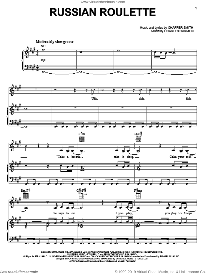 Russian Roulette sheet music for voice, piano or guitar by Shaffer Smith