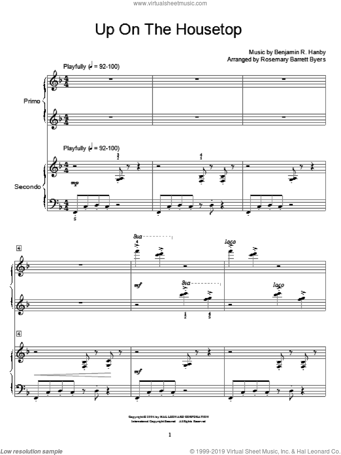 Up On The Housetop sheet music for piano four hands by Benjamin Hanby and Miscellaneous, intermediate skill level