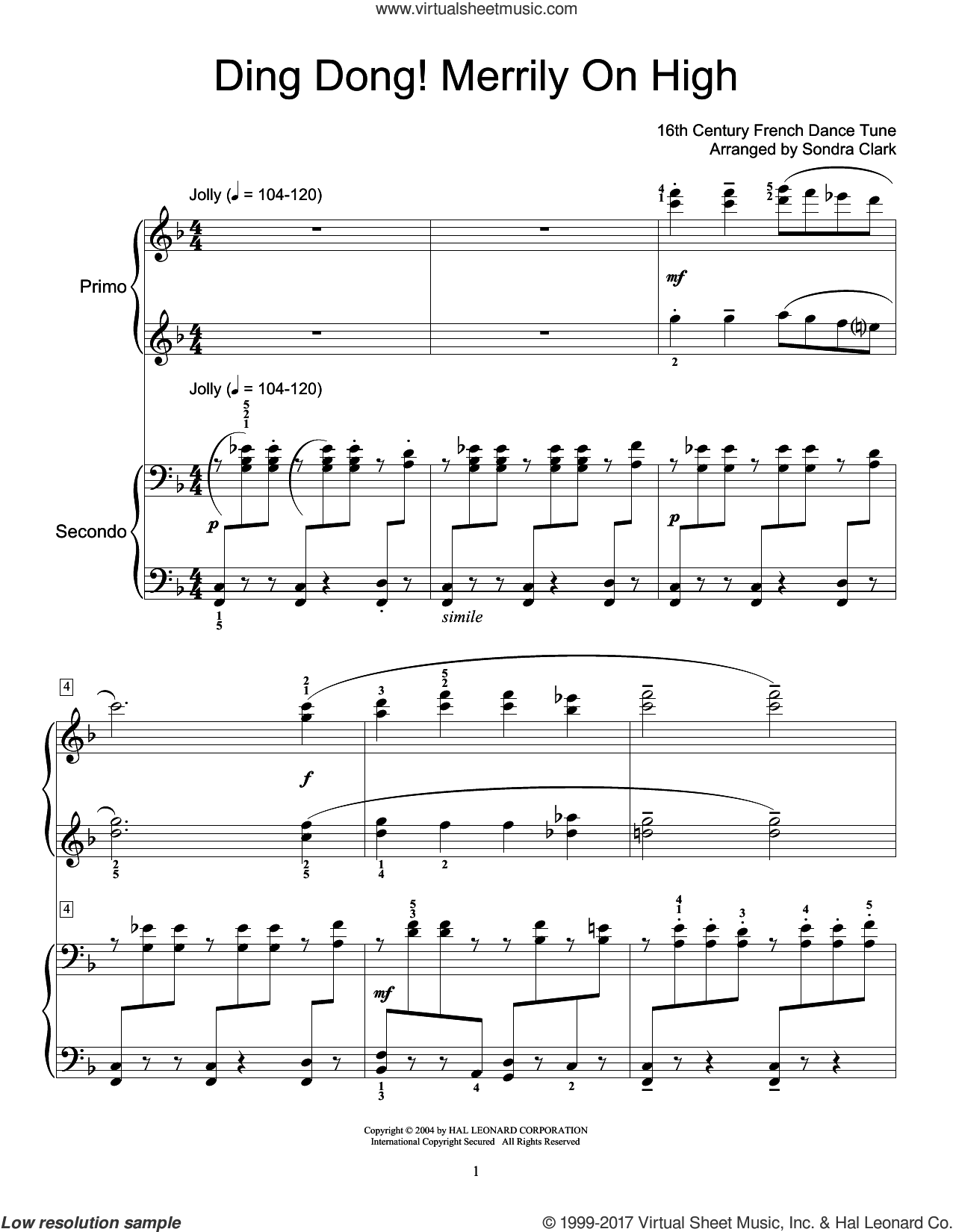 Ding Dong! Merrily On High! sheet music for piano four hands, intermediate skill level