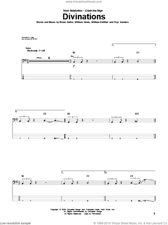 Divinations sheet music for bass (tablature) (bass guitar) by William Kelliher, Mastodon and Troy Sanders. Score Image Preview.