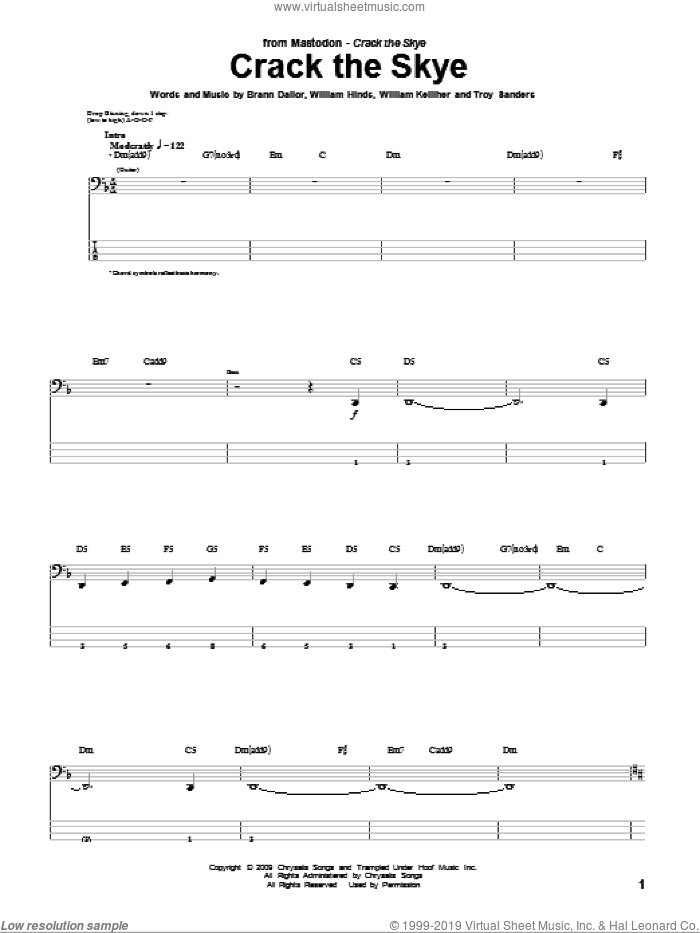 Crack The Skye sheet music for bass (tablature) (bass guitar) by William Kelliher