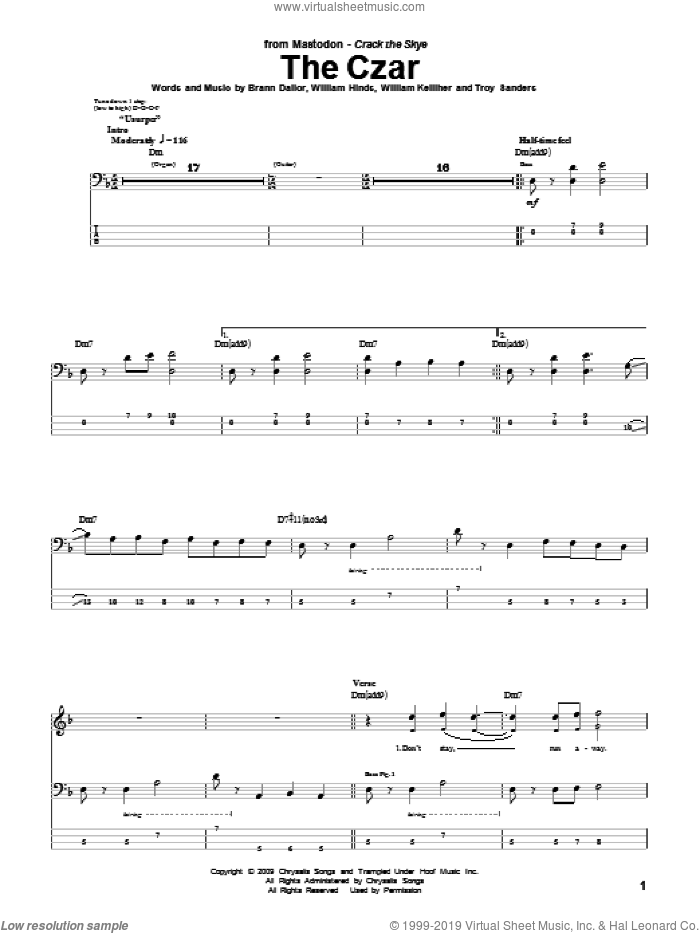 The Czar sheet music for bass (tablature) (bass guitar) by William Kelliher, Mastodon and Troy Sanders. Score Image Preview.