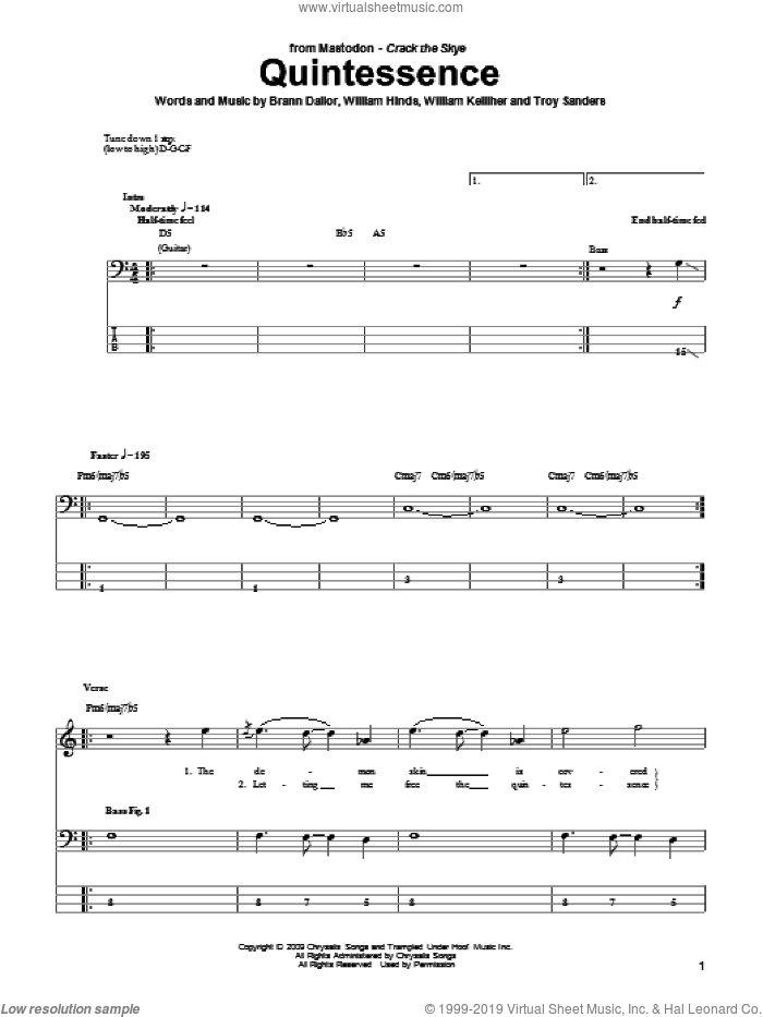 Quintessence sheet music for bass (tablature) (bass guitar) by Mastodon. Score Image Preview.