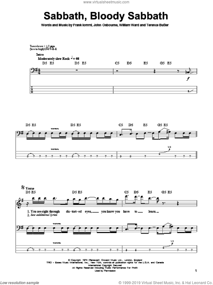 Sabbath, Bloody Sabbath sheet music for bass (tablature) (bass guitar) by William Ward