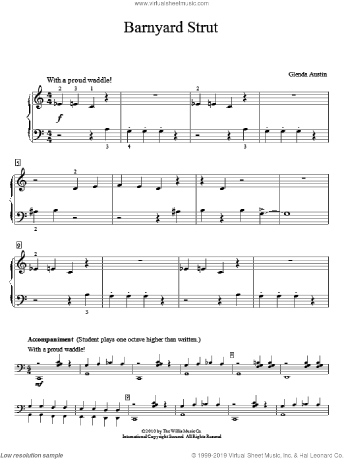 Barnyard Strut sheet music for piano four hands by Glenda Austin, intermediate. Score Image Preview.