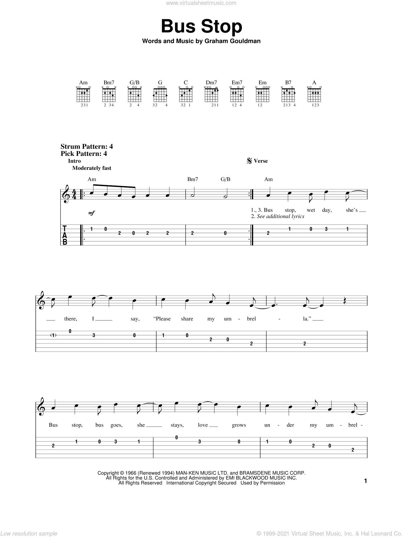 Bus Stop sheet music for guitar solo (easy tablature) by Graham Gouldman