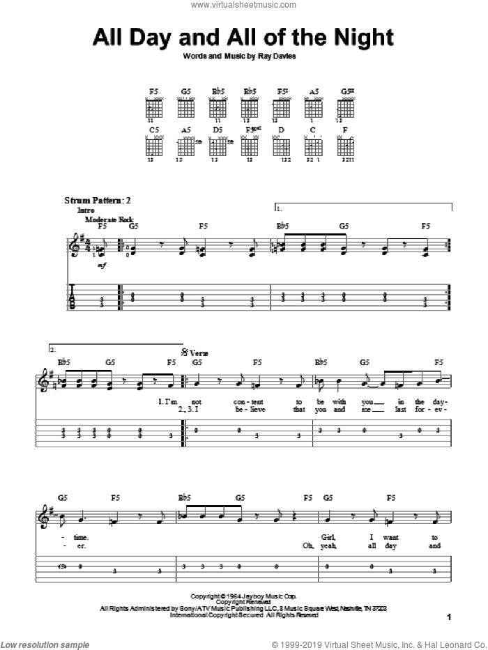 All Day And All Of The Night sheet music for guitar solo (easy tablature) by The Kinks and Ray Davies, easy guitar (easy tablature)
