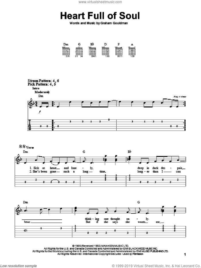 Heart Full Of Soul sheet music for guitar solo (easy tablature) by The Yardbirds and Graham Gouldman, easy guitar (easy tablature)