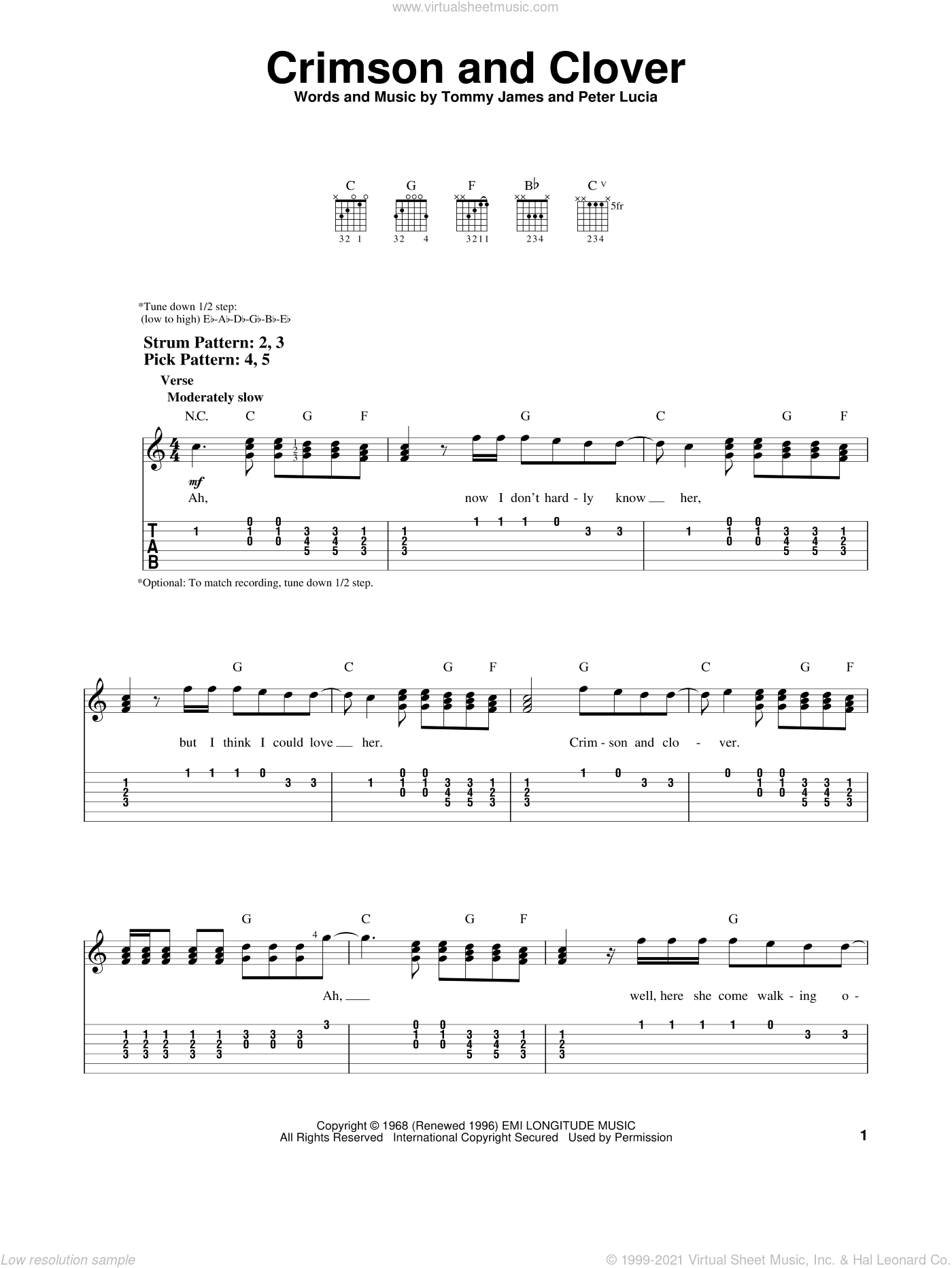 Crimson And Clover sheet music for guitar solo (easy tablature) by Tommy James & The Shondells, Joan Jett, Peter Lucia and Tommy James, easy guitar (easy tablature). Score Image Preview.