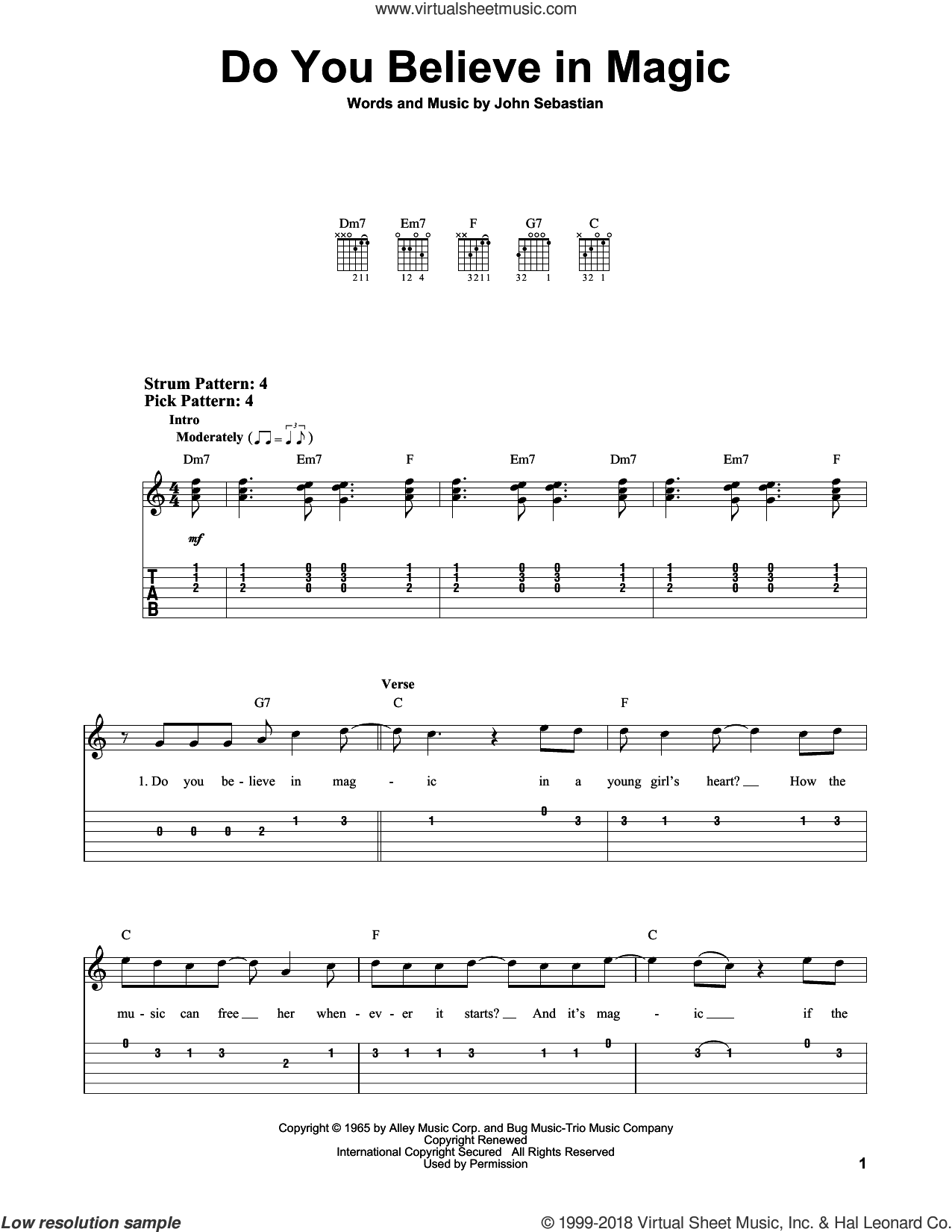 Do You Believe In Magic sheet music for guitar solo (easy tablature) by The Lovin' Spoonful and John Sebastian, easy guitar (easy tablature). Score Image Preview.