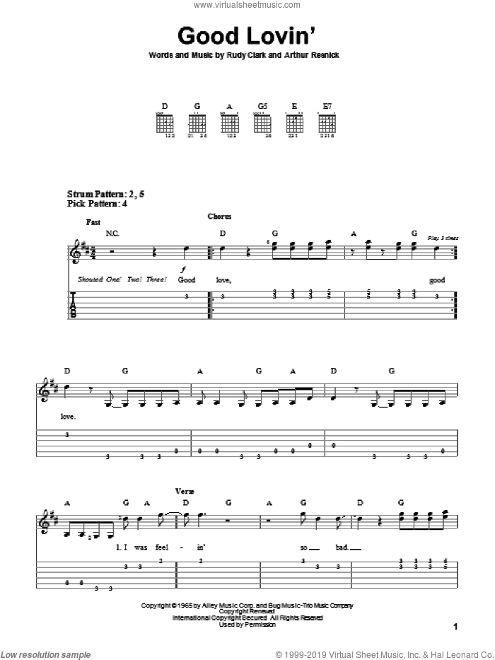 Good Lovin' sheet music for guitar solo (easy tablature) by Rudy Clark. Score Image Preview.
