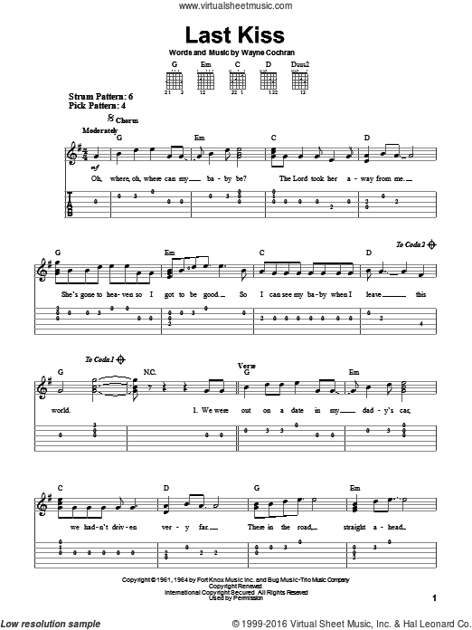 Last Kiss sheet music for guitar solo (easy tablature) by Wayne Cochran and Pearl Jam. Score Image Preview.