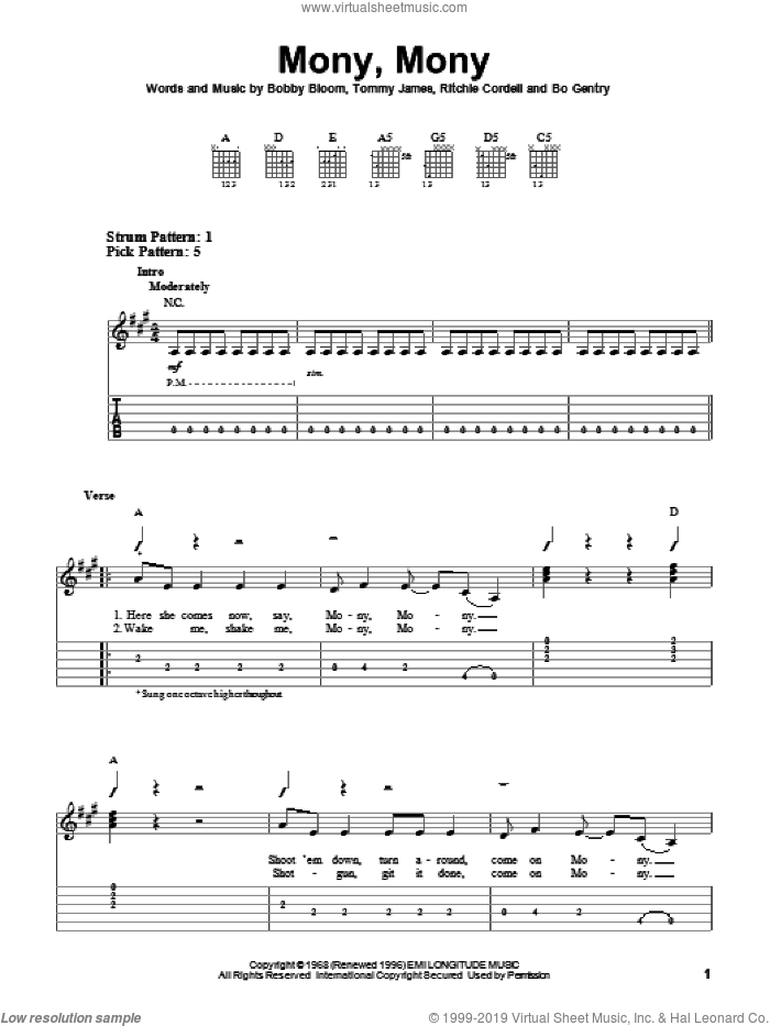 Mony, Mony sheet music for guitar solo (easy tablature) by Tommy James & The Shondells, Billy Idol, Bo Gentry, Bobby Bloom, Ritchie Cordell and Tommy James, easy guitar (easy tablature)