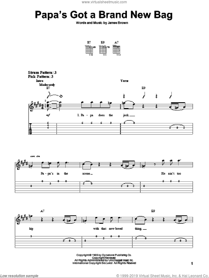 Papa's Got A Brand New Bag sheet music for guitar solo (easy tablature) by James Brown, easy guitar (easy tablature)