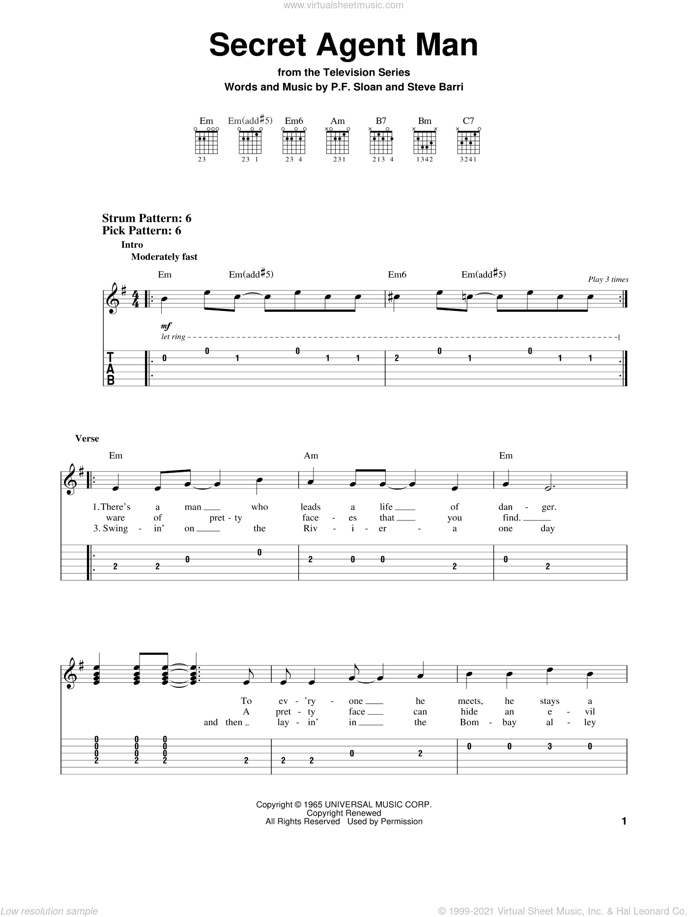 Secret Agent Man sheet music for guitar solo (easy tablature) by Steve Barri, Johnny Rivers and P.F. Sloan. Score Image Preview.