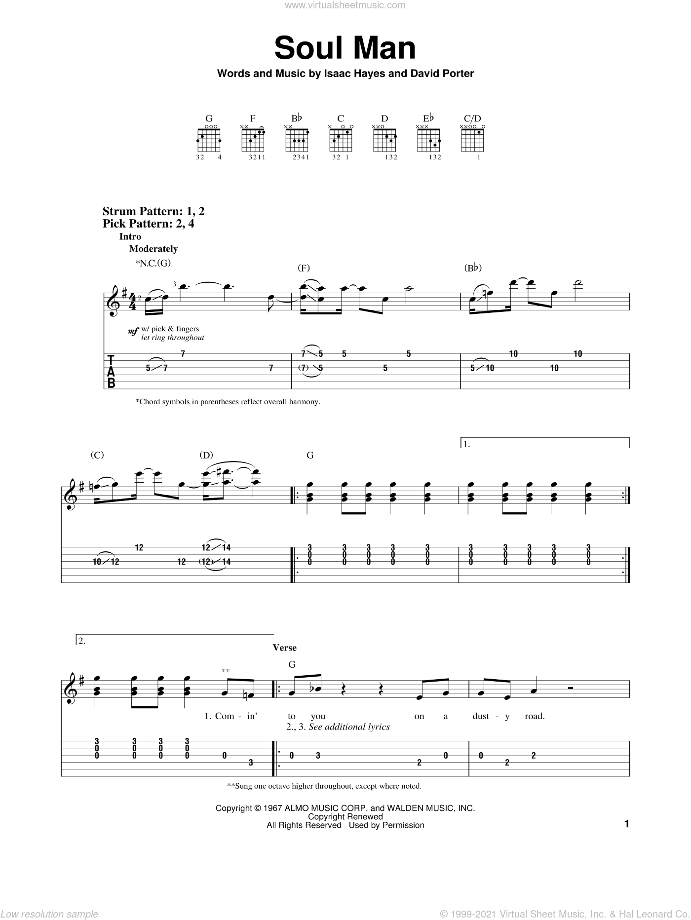 Soul Man sheet music for guitar solo (easy tablature) by Sam & Dave, Blues Brothers, David Porter and Isaac Hayes, easy guitar (easy tablature). Score Image Preview.