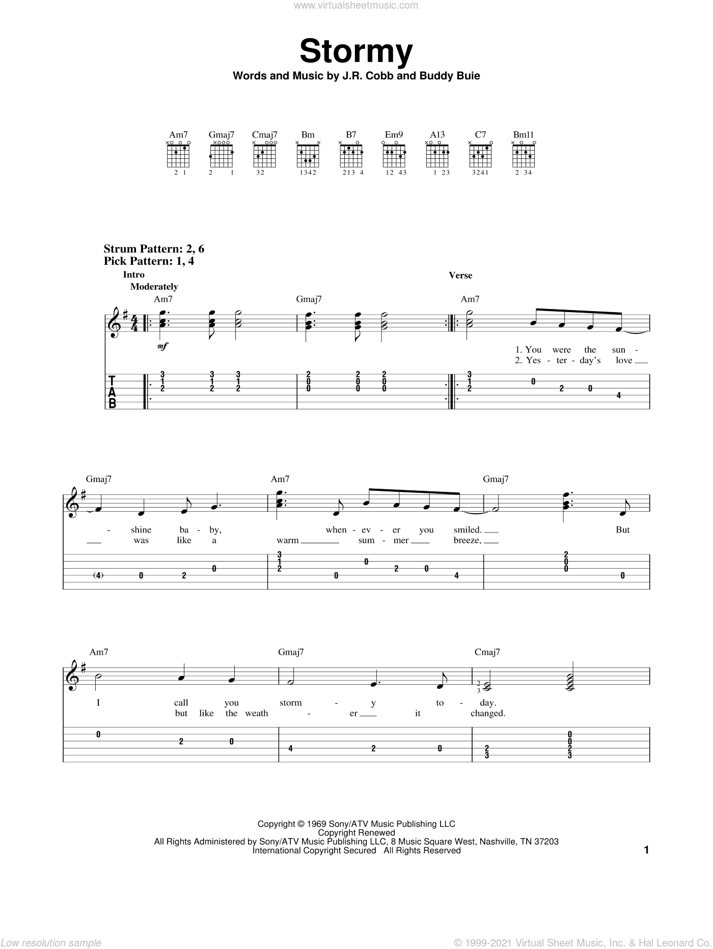 Stormy sheet music for guitar solo (easy tablature) by J.R. Cobb and Classics IV. Score Image Preview.