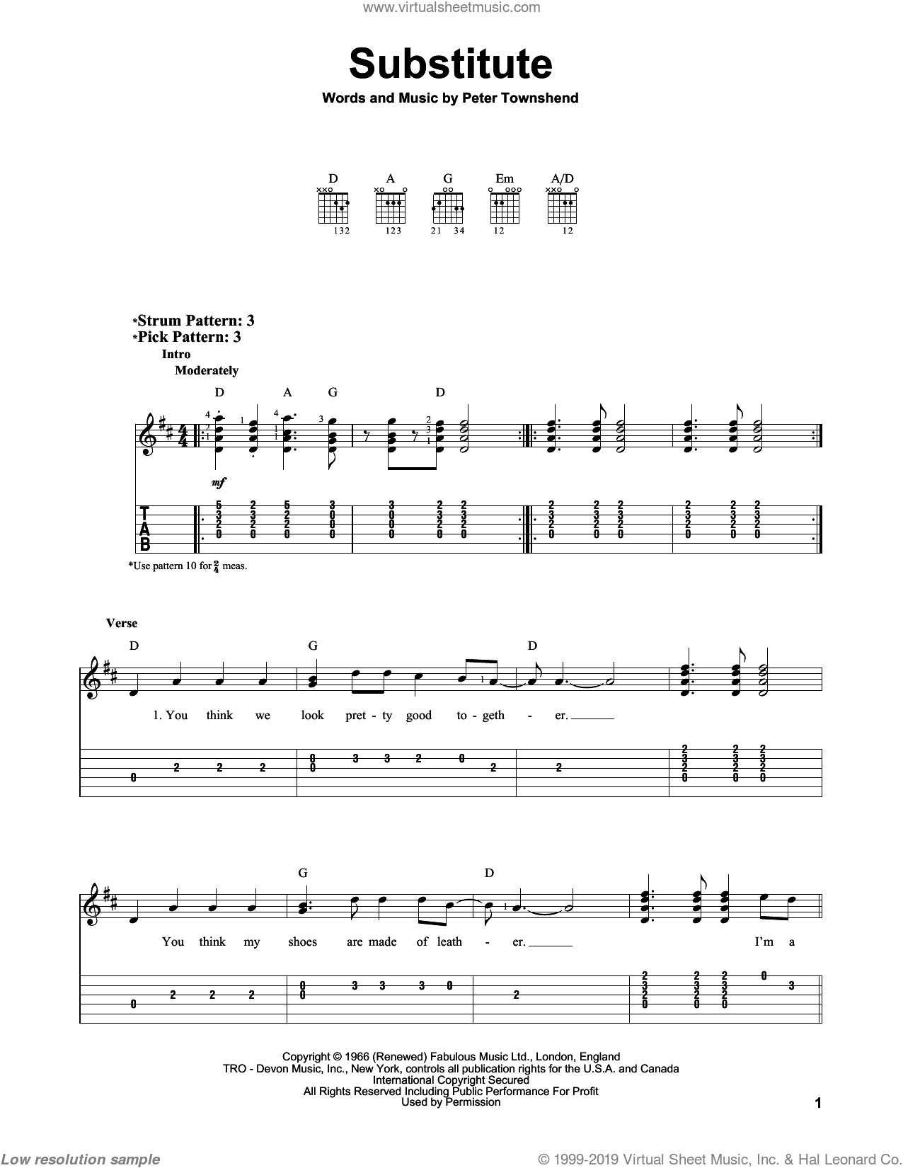 Substitute sheet music for guitar solo (easy tablature) by The Who and Pete Townshend, easy guitar (easy tablature)