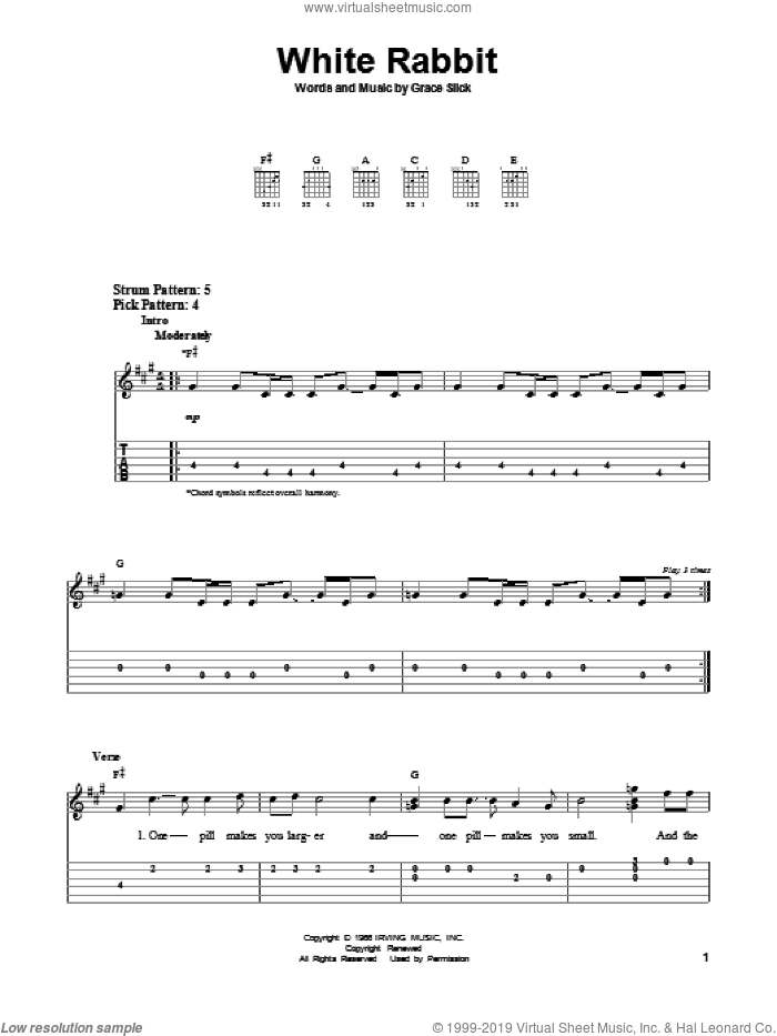 White Rabbit sheet music for guitar solo (easy tablature) by Grace Slick