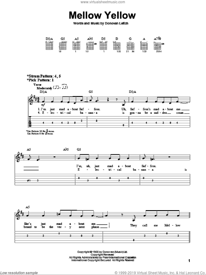 Mellow Yellow sheet music for guitar solo (easy tablature) by Walter Donovan. Score Image Preview.