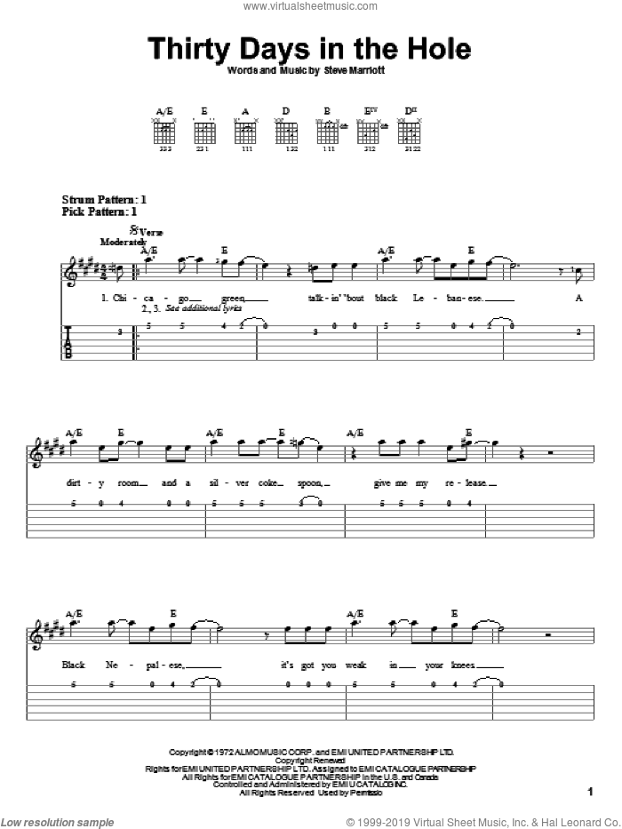 Thirty Days In The Hole sheet music for guitar solo (easy tablature) by Humble Pie and Steve Marriott, easy guitar (easy tablature)