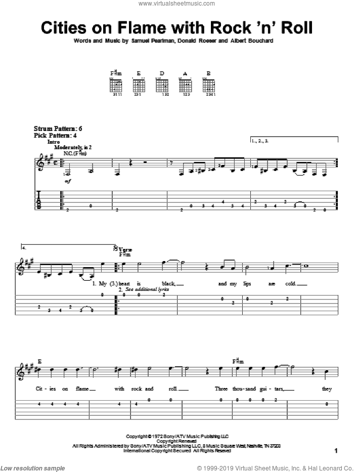Cities On Flame With Rock 'N' Roll sheet music for guitar solo (easy tablature) by Samuel Pearlman, Blue Oyster Cult, Albert Bouchard and Donald Roeser