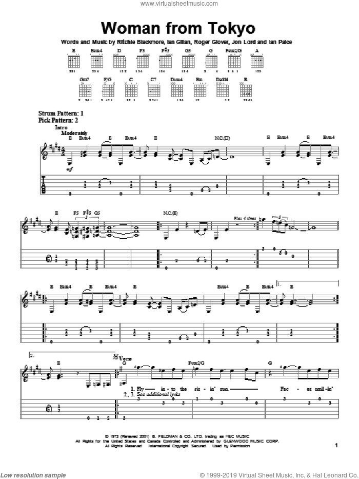 Woman From Tokyo sheet music for guitar solo (easy tablature) by Roger Glover, Deep Purple and Ian Gillan. Score Image Preview.
