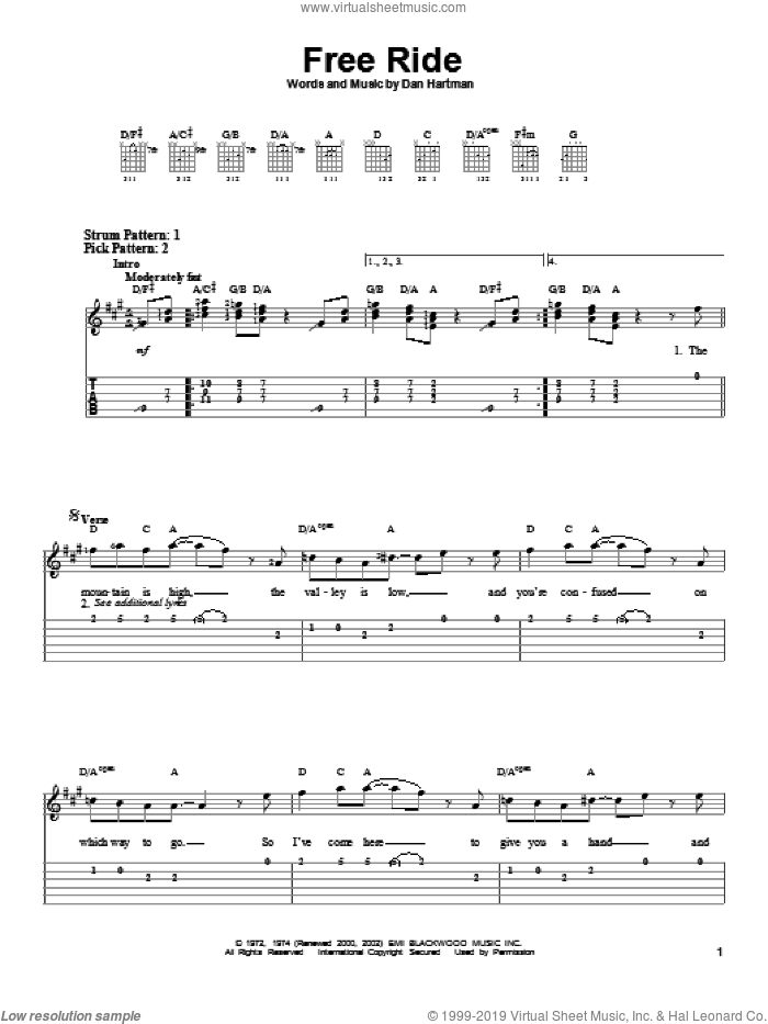 Free Ride sheet music for guitar solo (easy tablature) by Edgar Winter Group and Dan Hartman. Score Image Preview.