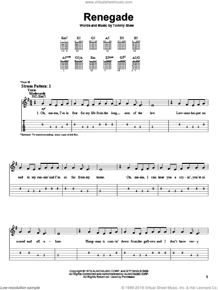 Renegade sheet music for guitar solo (easy tablature) by Styx and Tommy Shaw, easy guitar (easy tablature)