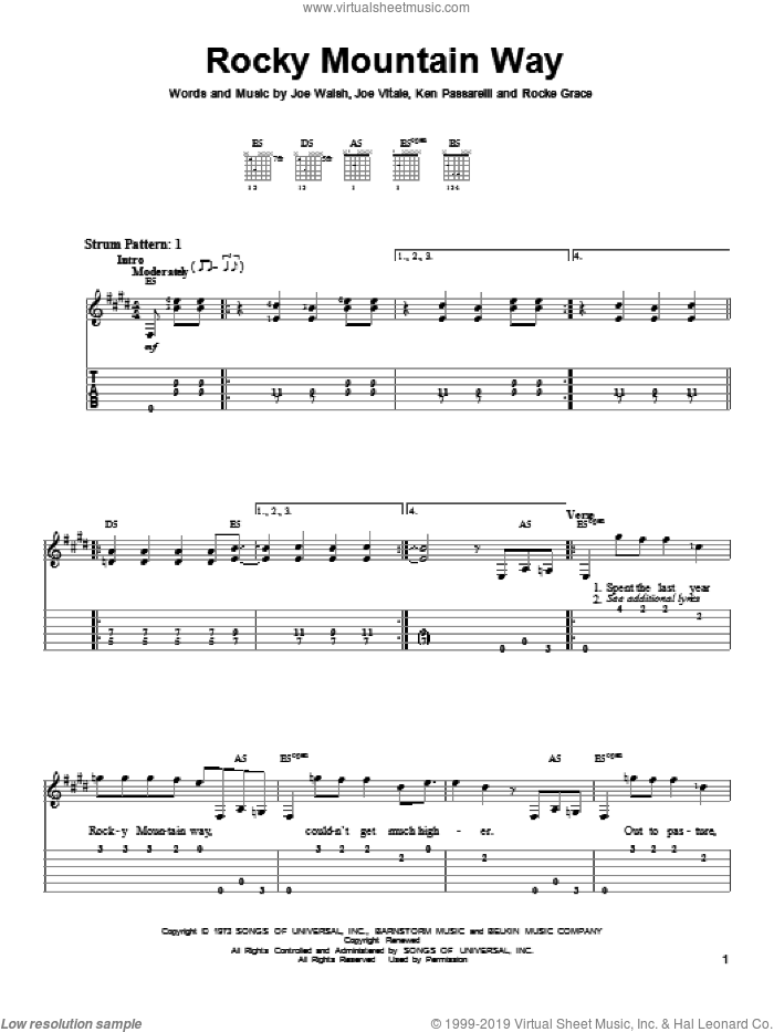 Rocky Mountain Way sheet music for guitar solo (easy tablature) by Joe Walsh, Joe Vitale, Ken Passarelli and Rocke Grace, easy guitar (easy tablature)