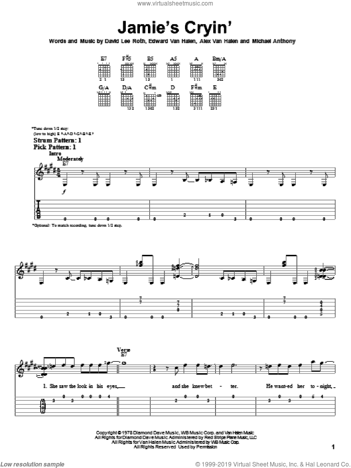 Jamie's Cryin' sheet music for guitar solo (easy tablature) by Edward Van Halen, Alex Van Halen, David Lee Roth and Michael Anthony, easy guitar (easy tablature)