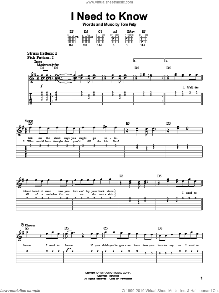 I Need To Know sheet music for guitar solo (easy tablature) by Tom Petty And The Heartbreakers and Tom Petty. Score Image Preview.
