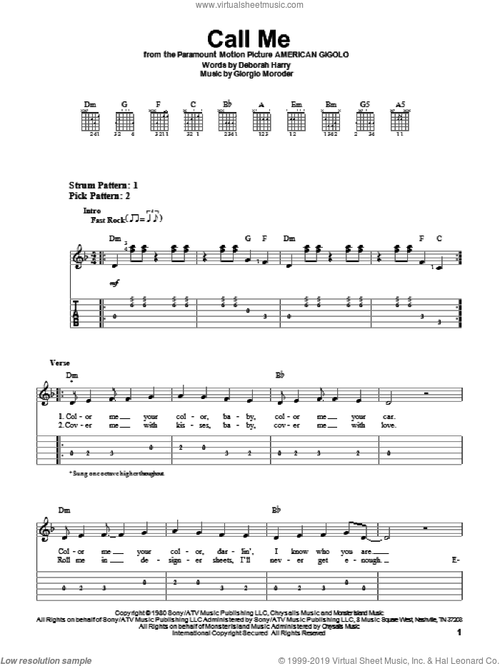 Call Me sheet music for guitar solo (easy tablature) by Blondie and Giorgio Moroder, easy guitar (easy tablature). Score Image Preview.