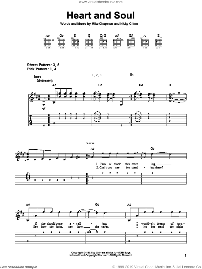 Heart And Soul sheet music for guitar solo (easy tablature) by Huey Lewis & The News, Mike Chapman and Nicky Chinn, easy guitar (easy tablature)